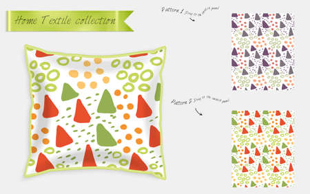 Interior design textile patterns. Realistic satin decorative pillow mock up with seamless pattern isolated on white. Two hand drawn seamless patterns with rough texture. Illustration