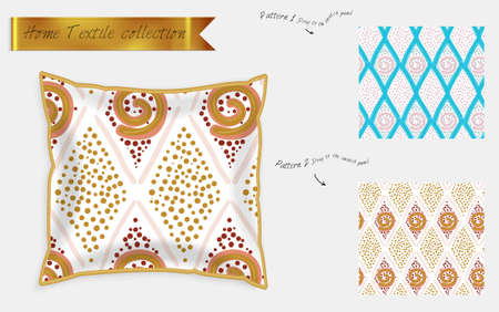 Interior design textile patterns. Realistic satin decorative pillow mock up with seamless pattern isolated on white. Two hand drawn seamless patterns with rough texture. Foto de archivo - 97897491