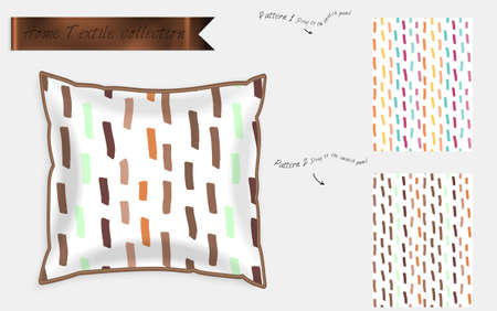 Interior design textile patterns. Realistic satin decorative pillow mock up with seamless pattern isolated on white. Two hand drawn seamless patterns with rough texture. 일러스트