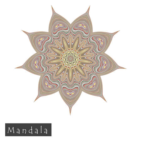 Made of thin lines detailed mandala. Floral symmetrical geometrical symbol. Vector flower mandala icon isolated on white. Oriental round colored pattern.  Illustration