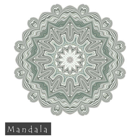 Made of thin lines detailed mandala. Floral symmetrical geometrical symbol. Vector flower mandala icon isolated on white. Oriental round colored pattern.  Иллюстрация