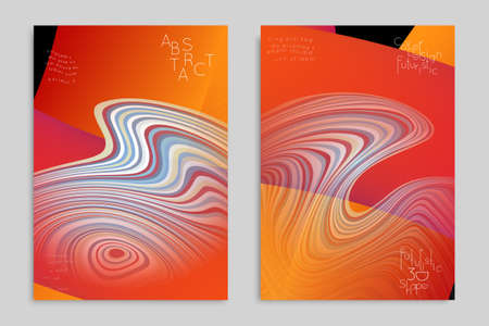 Set of orange banner templates with marble striped texture.