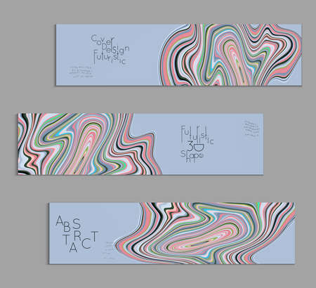 Set of colored banner templates with marble striped texture.