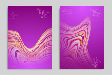 Set o purple banner templates with marble striped texture.