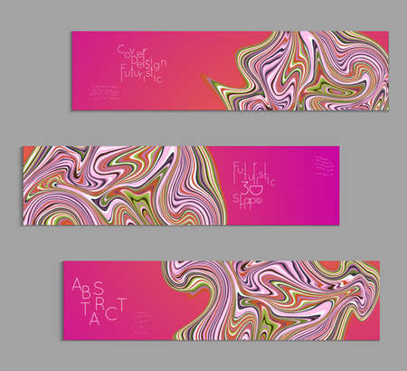 Set of pink banner templates with marble striped texture.