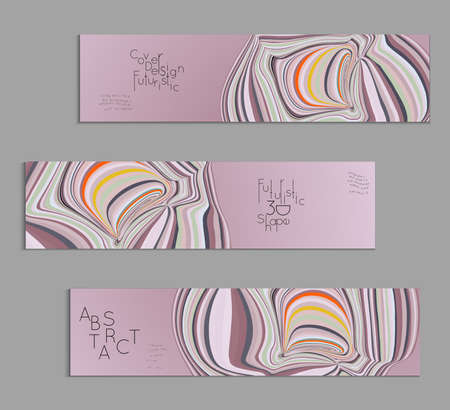Set of light purple banner templates with marble striped texture.