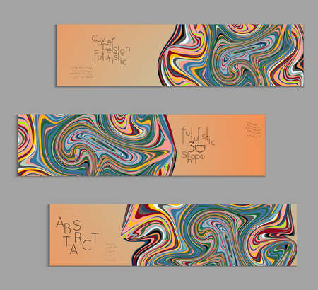 Orange and green banner templates with marble striped texture.