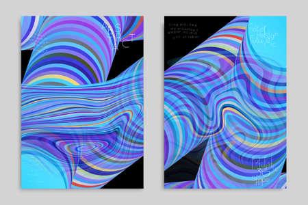 Set of blue banner templates with marble striped texture. Ilustração