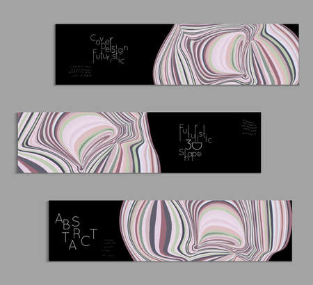 Black and grey banner templates with marble striped texture.
