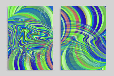 Green and blue banner templates with marble striped texture. Ilustração
