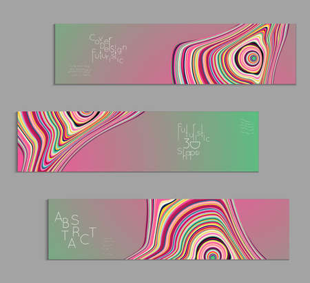 Green and pink banner templates with marble striped texture.
