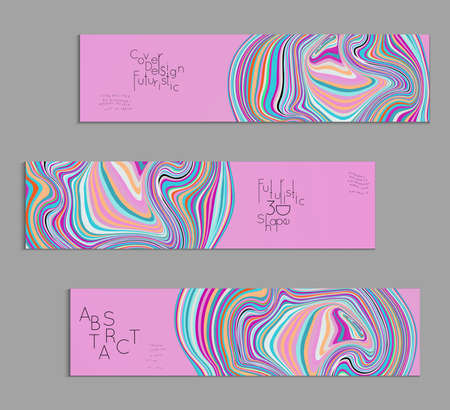 Pink and blue banner templates with marble striped texture. Stock Illustratie