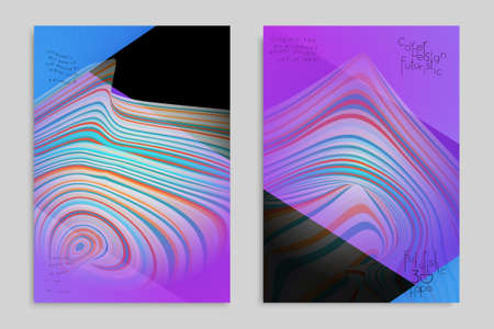 Pink and blue banner templates with marble striped texture. Ilustração