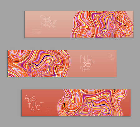Orange banner templates with marble striped texture.