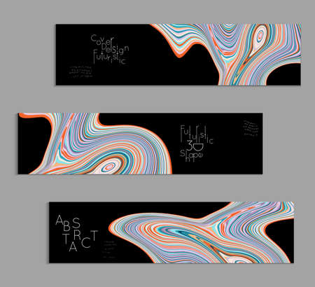 Black and colored banner templates with marble striped texture. Stock Illustratie