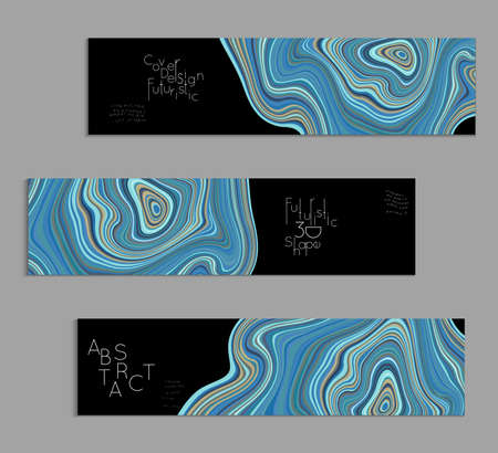Blue and black banner templates with marble striped texture.