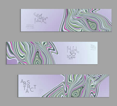 Grey and purple banner templates with marble striped texture.