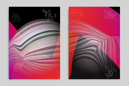 Pink and black banner templates with marble striped texture. Ilustração