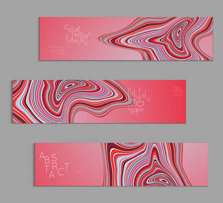 Pink banner templates with marble striped texture.