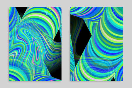 Blue and green banner templates with marble striped texture. Ilustração