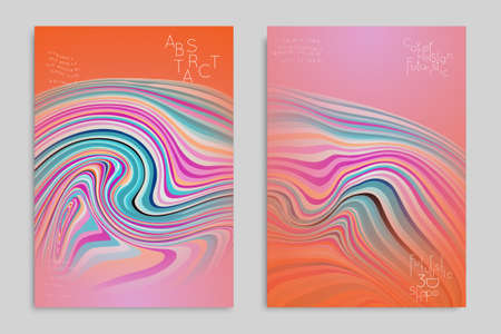 Orange and pink banner templates with marble striped texture.