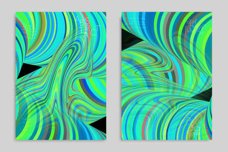 Green and blue banner templates with marble striped texture. Stock Illustratie