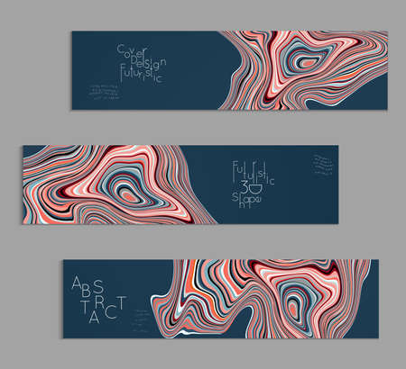 Colored banner templates with marble striped texture.