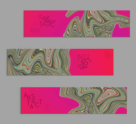 Bright pink banner templates with marble striped texture.