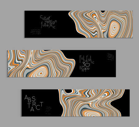 Set of banner templates with marble striped texture.