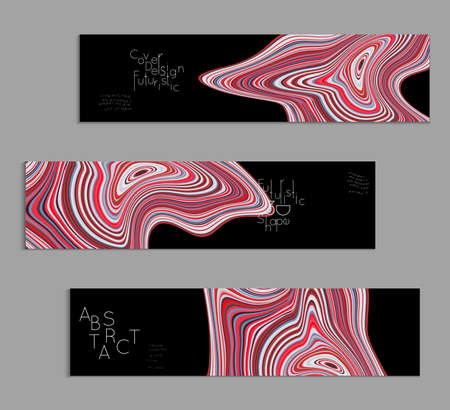 Pink and black banner templates with marble striped texture. Vettoriali