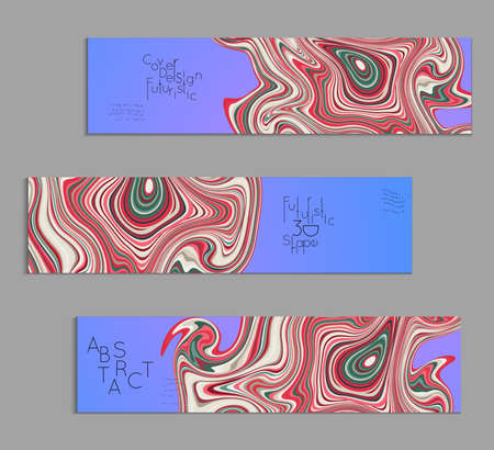 Blue and red banner templates with marble striped texture.