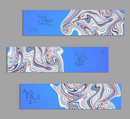 Blue banner templates with marble striped texture.