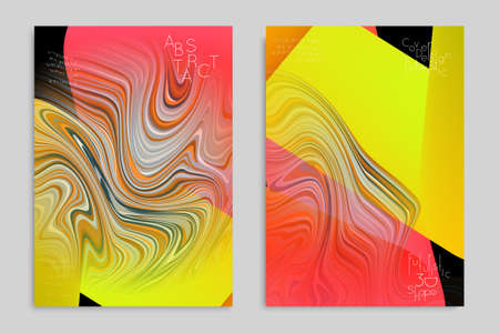 Yellow and red banner templates with marble striped texture.