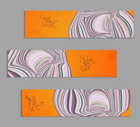 Orange and grey banner templates with marble striped texture.
