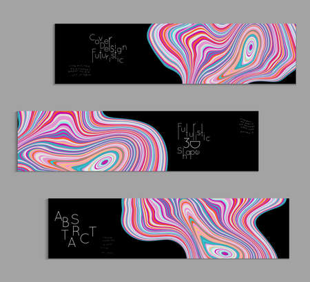 Pink and black banner templates with marble striped texture. Illustration