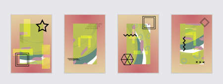 Set of artistic abstract universal card templates with simple geometric shapes and hand drawn doodle texture. Social media web banner. Bright colored isolated on white background cover template.