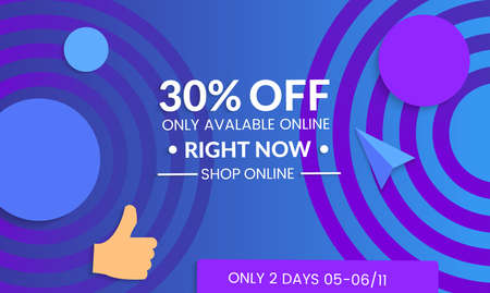 Abstract geometric background with concentric circles. Modern template for social media banner. Contemporary material design with realistic shadow over flat gradient background. Illustration