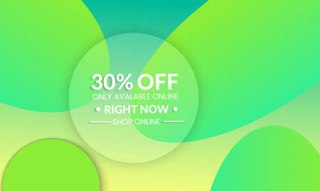 Abstract geometric background with ovals. Modern template for social media banner. Contemporary material design with realistic shadow over flat gradient background. Illustration