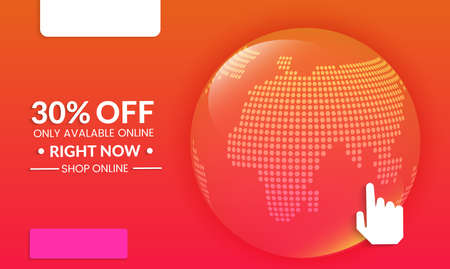 Abstract geometric background with globe. Modern template for social media banner. Contemporary material design with realistic shadow over flat gradient background. Illustration
