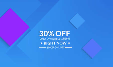 Abstract geometric background with squares. Modern template for social media banner. Contemporary material design with realistic shadow over flat gradient background.