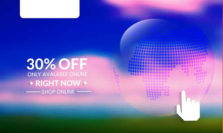 Abstract geometric background with globe. Modern template for social media banner. Contemporary material design with realistic shadow over flat gradient background. Stock Illustratie