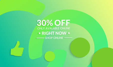 Abstract geometric background with circle in chainModern template for social media banner. Contemporary material design with realistic shadow over flat gradient background.