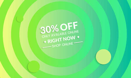 Abstract geometric background with concentric circles. Modern template for social media banner. Contemporary material design with realistic shadow over flat gradient background. Stock Illustratie