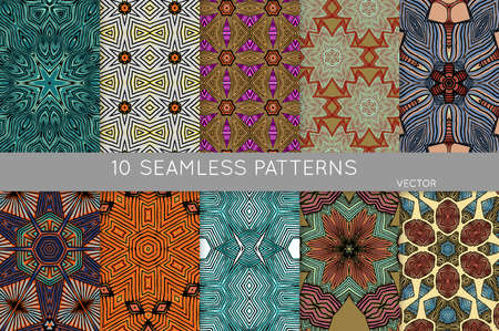 Collection of seamless patterns. Abstract design elements in set. Colored decorative repainting background with tribal and ethnic motifs  Stock Illustratie