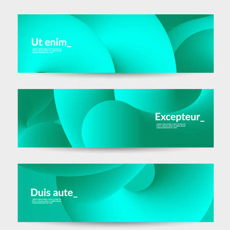 Bright colored sale advertisement templates with liquid shape. Fluid gradient color banners set. Creative 3D blend shapes dynamic composition. Layered isolated vector background.  Stock Illustratie