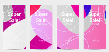 Sale banners for social media stories, web page and other promotion for mobile phone. Bright colored gradient sale advertisement template with wavy lines.