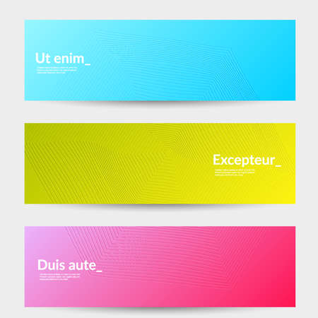 Banner templates with bright gradient background and embossed shapes. Abstract modern minimal design