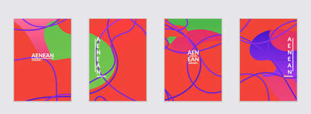 Abstract flyer templates with wavy gradient shapes and curvy lines. Wavy  background.