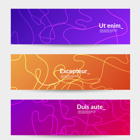 Abstract banner templates with curvy lines on bright gradient. Wavy  background.