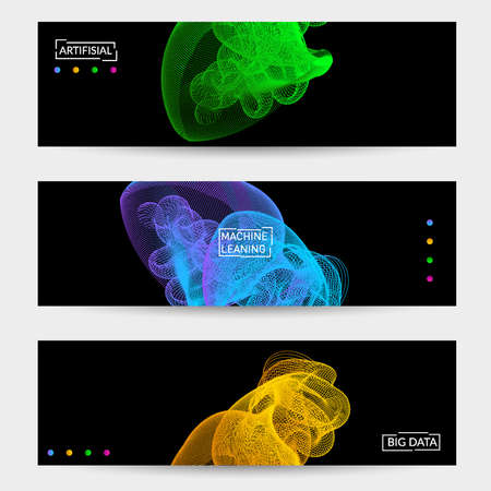 Vector abstract dynamic gradient waves, curvy line on black backgrounds. Modern web banner template with fluid blended curves and bright dots. Ilustracja
